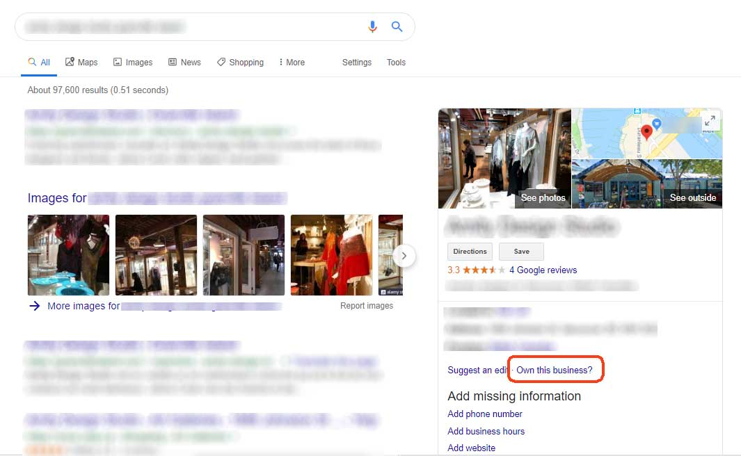 Image depicting a Google search result with an unclaimed listing link circled in red outline